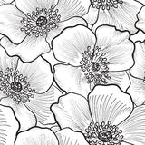 Floral seamless pattern. Flower background. Floral seamless pattern. Flower silhouette black and white background. Floral decorative seamless texture with Royalty Free Stock Photography