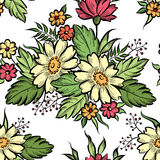 Floral seamless pattern. Flower border background. Floral tile s Stock Photo