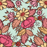 Floral seamless pattern. Flower border background. Floral tile s Stock Images