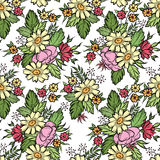 Floral seamless pattern. Flower border background. Floral tile s Stock Image