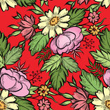 Floral seamless pattern. Flower border background. Royalty Free Stock Images