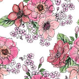 Floral seamless pattern. Flower bouquet background. Stock Photos