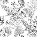 Floral seamless pattern. Flower bouquet hand drawn sketch backgr Royalty Free Stock Image