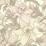 Floral seamless pattern. Flower doodle background. Florals engra Royalty Free Stock Photo