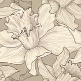 Floral seamless pattern. Flower doodle background. Florals engra. Ving texture with flowers. Flourish sketch tiled wallpaper Royalty Free Stock Images