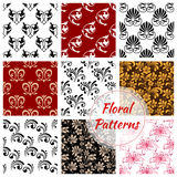 Floral seamless pattern with flower and leaf Stock Images