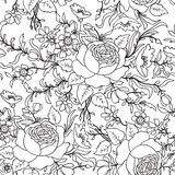 Floral seamless pattern. Flower outline sketch background. Stock Image