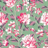 Floral seamless pattern. Flower rose chinese background. Flourish wallpaper with plants and flowers chrysanthemum. royalty free illustration