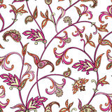 Floral seamless pattern. Flower swirl background. Arabic ornament with fantastic flowers and leaves. Stock Images