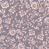 Floral seamless pattern. Flower swirl background. Ornamental brocade easten painting. Floral seamless pattern. Flower silhouette ornament. Ornamental flourish Royalty Free Stock Images