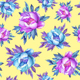 Floral seamless pattern with flowering pink and blue peonies, on yellow background. Watercolor hand drawn painting illustration. Royalty Free Stock Photo