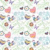 Floral seamless pattern with flowers, bird, hearts Royalty Free Stock Photography