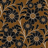 Floral seamless pattern ,  flowers brown  background. Floral seamless pattern in retro style, cute cartoon flowers brown background Royalty Free Stock Photos