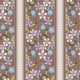 Floral seamless pattern ,  flowers brown  background striped. Floral seamless pattern in retro style, cute cartoon flowers brown background striped Stock Image