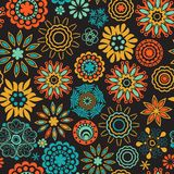 Floral seamless pattern with flowers. Copy square to the side an Royalty Free Stock Photos