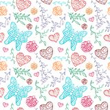 Floral seamless pattern with flowers, hearts and. Butterfly. Vector illustration for your lovely design. Seamless endless funny spring texture for textile Royalty Free Stock Photography