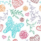 Floral seamless pattern with flowers, hearts and. Butterfly. Vector illustration for your lovely design. Seamless endless funny spring texture for textile Stock Image