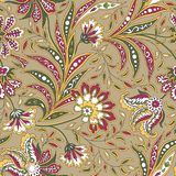 Floral seamless pattern. Flourish oriental ethnic background. Floral seamless pattern with flowers and leaves Arabic style flourish background. Oriental fabric royalty free illustration