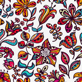 Floral  seamless pattern of flowers and leaves on  Stock Photos