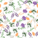 Floral seamless pattern with flowers and leaves. Royalty Free Stock Photo