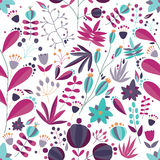 Floral seamless pattern with flowers and plants in white background. tropical colorful vector illustration. Stock Image