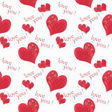 Floral seamless pattern flowers red hearts white background with circles Stock Image