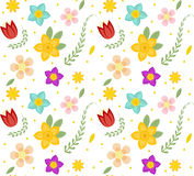 Floral seamless pattern. Flowers repeating texture. Botanical endless background. Vector illustration. Royalty Free Stock Images