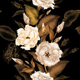 Floral seamless pattern. Flowers roses on a black background. Vector seamless pattern. Floral design in oriental style. Vintage. Black white and gold. Beautiful Royalty Free Stock Photos