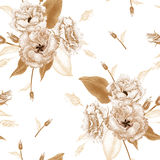 Floral seamless pattern. Flowers roses on a white background. Vector seamless pattern. Floral design in oriental style. Vintage. Black white and gold. Beautiful Stock Photography