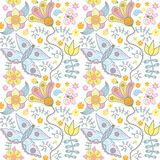 Floral seamless pattern with flowers. Stock Images