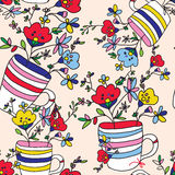 Floral seamless pattern with flowers, vase, cup Royalty Free Stock Photo