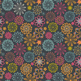 Floral seamless pattern with flowers. Vector blooming doodle flo Stock Photography