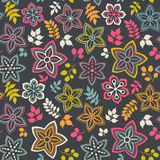 Floral seamless pattern with flowers. Vector blooming doodle flo Stock Image