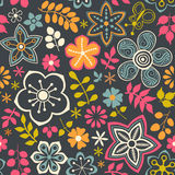 Floral seamless pattern with flowers. Vector blooming doodle flo Royalty Free Stock Photography