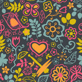 Floral seamless pattern with flowers. Vector blooming doodle flo Royalty Free Stock Photo