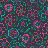 Floral seamless pattern with flowers. Vector blooming doodle flo Royalty Free Stock Images