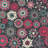 Floral seamless pattern with flowers. Vector blooming doodle flo Royalty Free Stock Image
