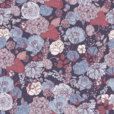 Floral seamless pattern with flowers, vintage background. colorful vector illustration. Stock Photos