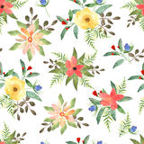 Floral seamless pattern with flowers in watercolor. Design for p Royalty Free Stock Photo