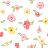 Floral seamless pattern with flowers in watercolor. Design for p Stock Images