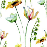 Floral seamless pattern with flowers. Watercolour illustration Royalty Free Stock Images