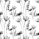 Floral seamless pattern with flowers. Watercolour illustration Royalty Free Stock Image