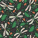 Floral seamless pattern of forest herbs, acorns and dragonflies. Floral surface pattern design. Vector seamless texture with forest herbs, acorns and dragonflies stock illustration