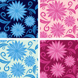 Floral seamless pattern in four variants Royalty Free Stock Photography