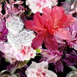 Floral seamless pattern with fuchsia,hydrangea,azalea vector illustration stock photography