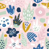 Floral seamless pattern with funky flowers. Creative surface design  background Stock Image