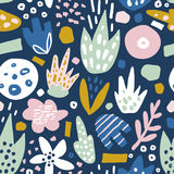Floral seamless pattern with funky flowers. Creative surface design  background Stock Photo