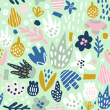Floral seamless pattern with funky flowers. Creative surface design  background Stock Images