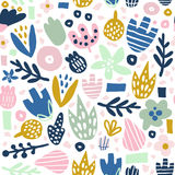 Floral seamless pattern with funky flowers. Creative surface design  background Royalty Free Stock Photography