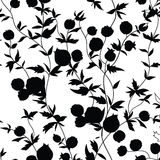 Floral seamless pattern. Garden flower silhouette background. Fl Royalty Free Stock Images
